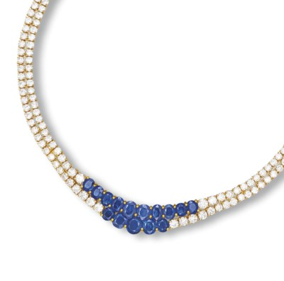 A SAPPHIRE AND DIAMOND NECKLAC