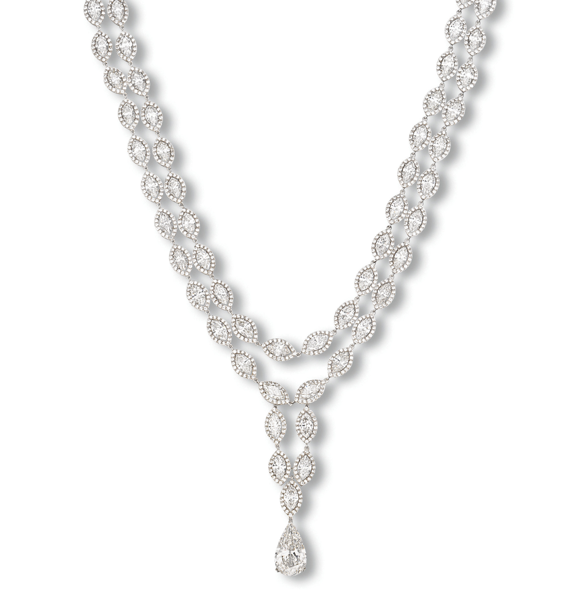 A TWO-STRAND DIAMOND NECKLACE