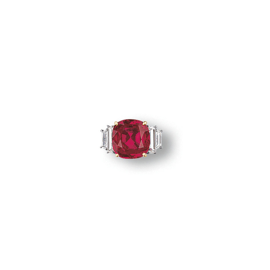 AN IMPORTANT RUBY AND DIAMOND RING, BY FRED LEIGHTON