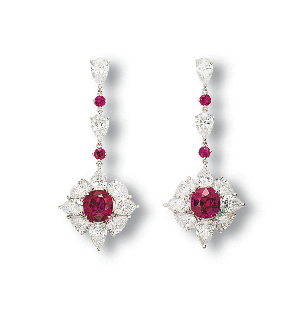 AN ELEGANT PAIR OF RUBY AND DI