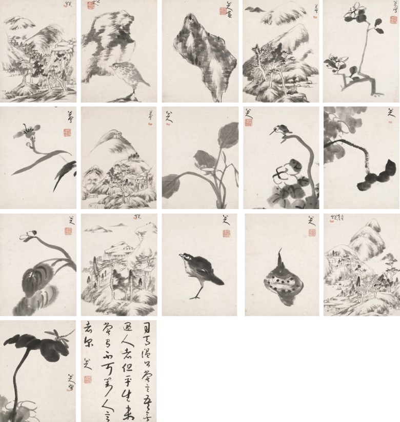 Bada Shanren (1626-1705), Landscapes, Flower, Birds and Rocks, 1698. Album of 17 leaves, 16 of paintings and one of calligraphy, ink on paper. Each leaf measures 29.5 x 21.9 cm (11⅔ x 8⅔ in). Sold for HK$34,260,000 on 2 December 2008 at Christie's in Hong Kong