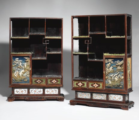 A PAIR OF IVORY AND HARDSTONE