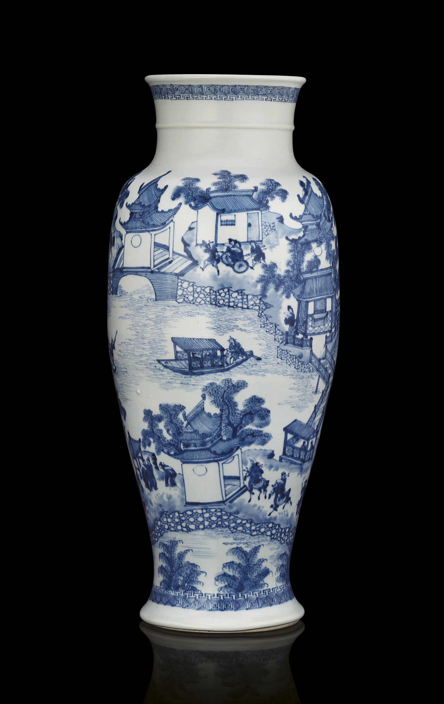 A RARE BLUE AND WHITE BALUSTER