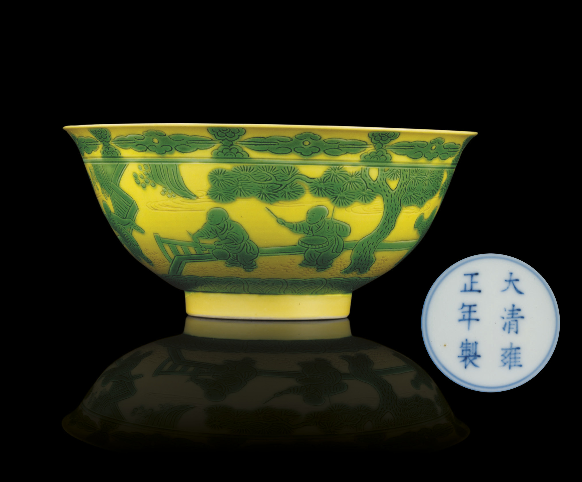 A FINE GREEN AND YELLOW ENAMEL