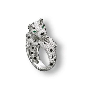 A DIAMOND, EMERALD AND ONYX 'P