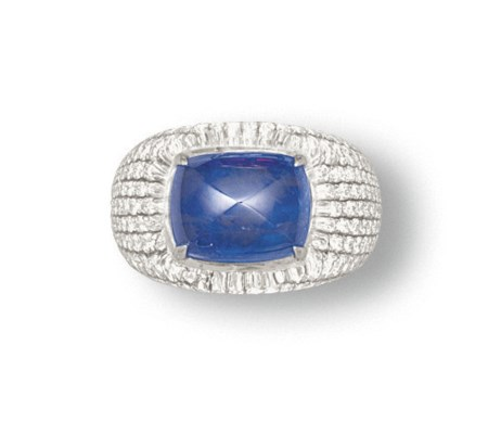 A SAPPHIRE, ROCK CRYSTAL AND D