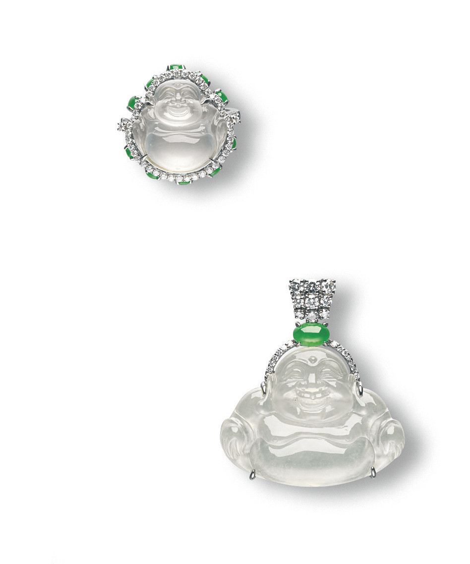 A SET OF JADEITE MILEFO AND DIAMOND JEWELLERY