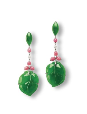 **A PAIR OF JADEITE, CONCH PEA