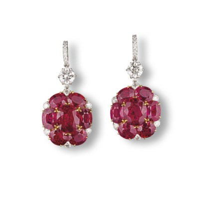 A STUNNING PAIR OF RUBY AND DI