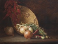 Still Life with Onions, Peppers and Basket