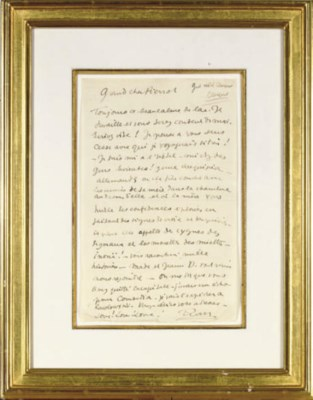 A FRAMED LETTER FROM JEAN COCT