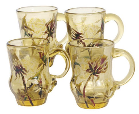 A SET OF FOUR FRENCH GLASS ENA
