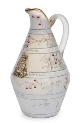 A FRENCH ENAMELED GLASS BEER P