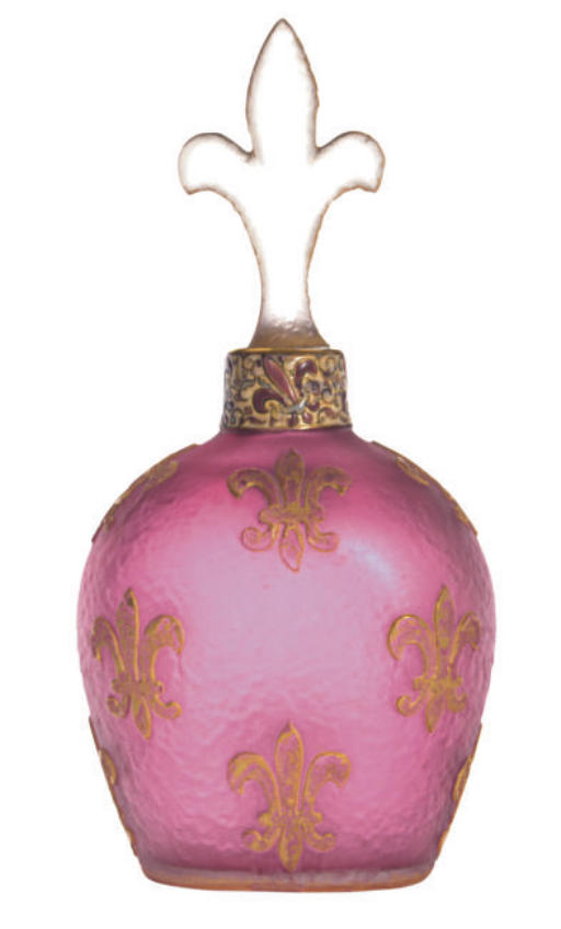 A FRENCH GLASS GILT AND ENAMEL
