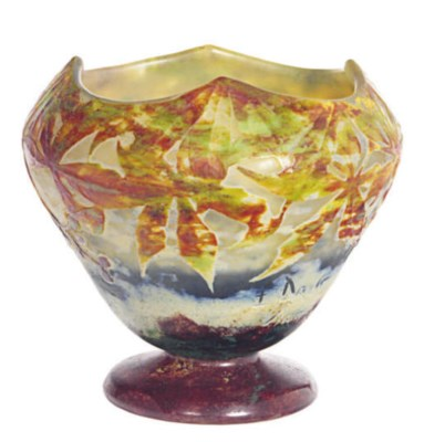 A FRENCH CAMEO GLASS FOOTED VA