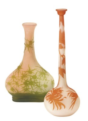 TWO FRENCH CAMEO GLASS VASES,