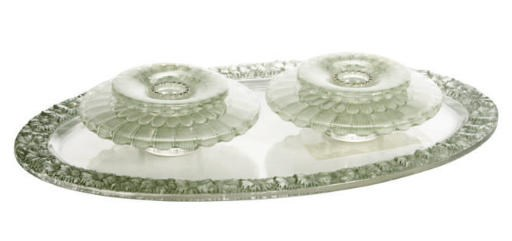 A FRENCH GLASS PAIR OF 'DAHLIA