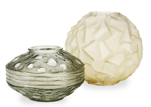 TWO FRENCH MOLDED GLASS VASES,