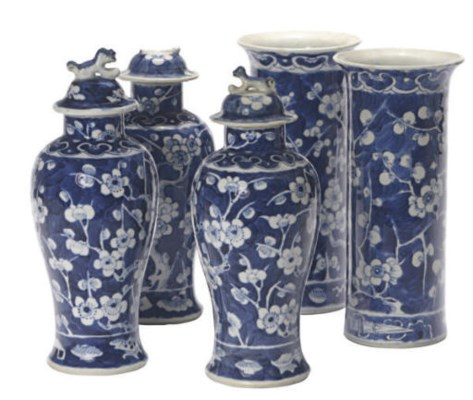 AN ASSEMBLED CHINESE BLUE AND