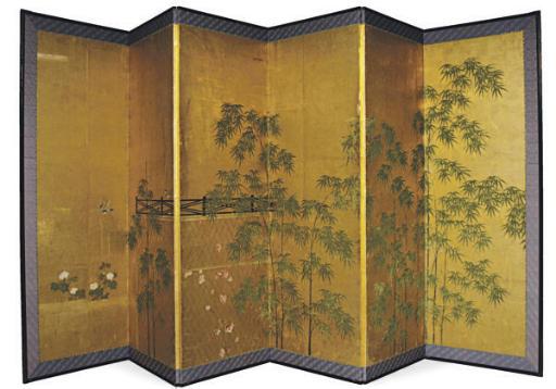 A JAPANESE SIX-PANEL SCREEN WI