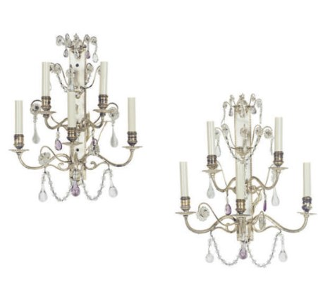 A PAIR OF SILVERED METAL FIVE-