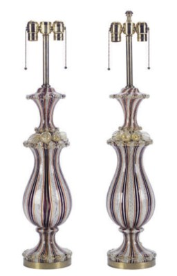 A PAIR OF MURANO GLASS VASES M