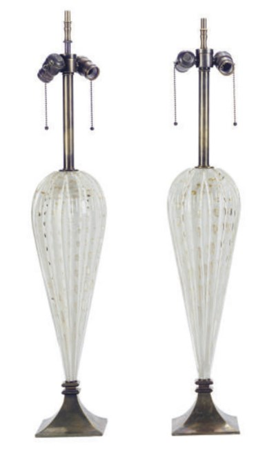 A PAIR OF MURANO GLASS LAMPS,