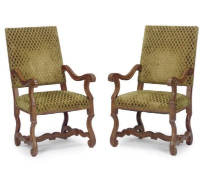 A PAIR OF STAINED-WOOD AND UPH