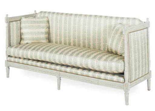 A PAINTED AND SILK UPHOLSTERED