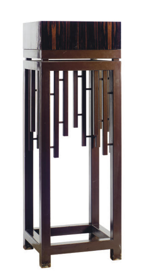 A PAINTED STEEL PEDESTAL WITH