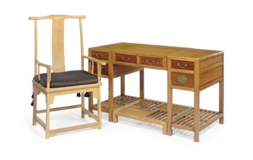 A CHINESE ELM FOUR-PART DESK,