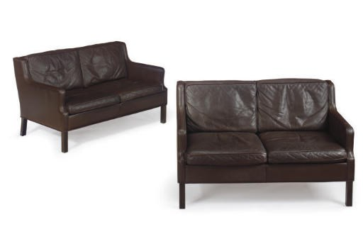 A PAIR OF ROSEWOOD AND LEATHER