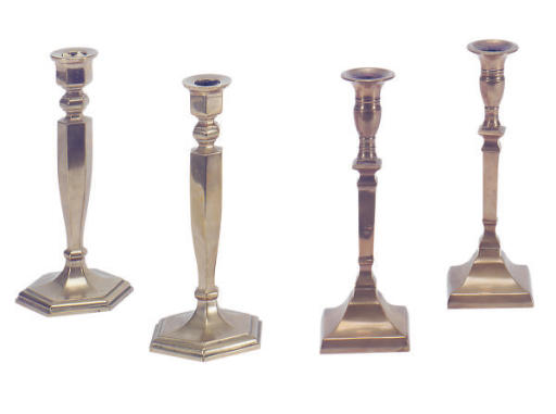 TWO PAIRS OF BELL METAL CANDLE