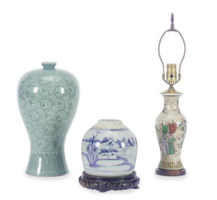 A GROUP OF THREE ASIAN POTTERY