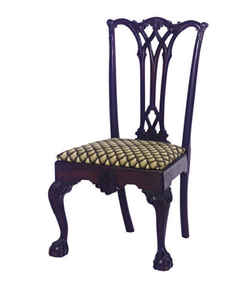A STAINED WOOD SIDE CHAIR,