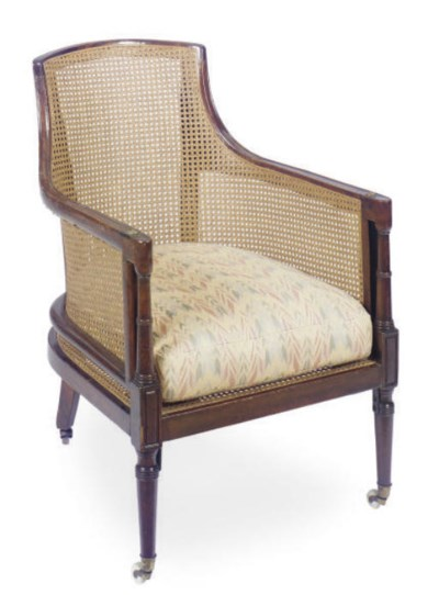 A REGENCY MAHOGANY AND CANED L