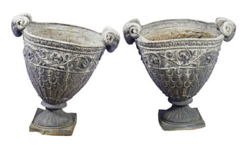 A PAIR OF CAST LEAD URNS,