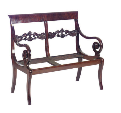 A CARVED MAHOGANY CHAIRBACK SE