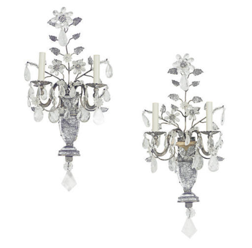 A PAIR OF FRENCH GLASS AND SIL