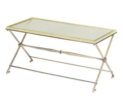 A GLASS AND BRASS LOW TABLE,