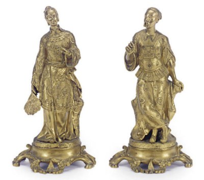 A PAIR OF FRENCH GILT-BRONZE F