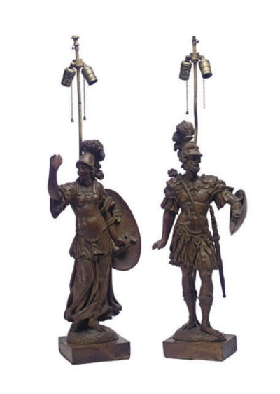 A PAIR OF CARVED LIMEWOOD SOLD