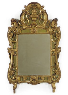 A FRENCH GILTWOOD AND GREEN-PA