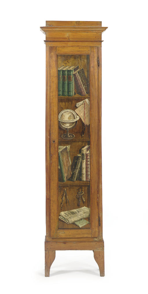 A PAINTED FRUITWOOD CUPBOARD,