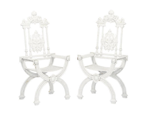 A PAIR OF VICTORIAN WHITE-PAIN