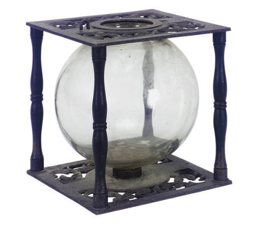 A VICTORIAN CAST IRON AND GLAS