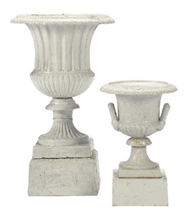 A PAIR OF WHITE-PAINTED CAST I