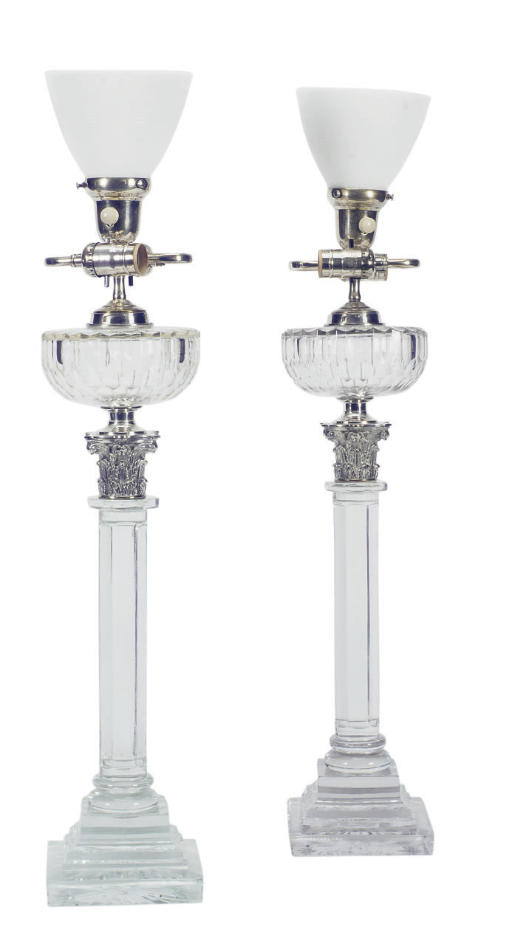 A PAIR OF SILVERED-METAL MOUNT