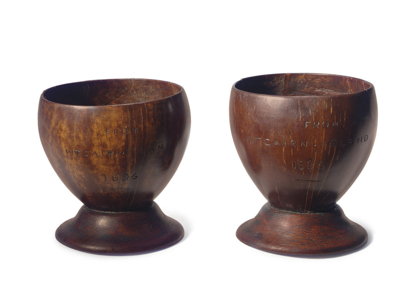 A PAIR OF COCONUT AND OAK GOBL