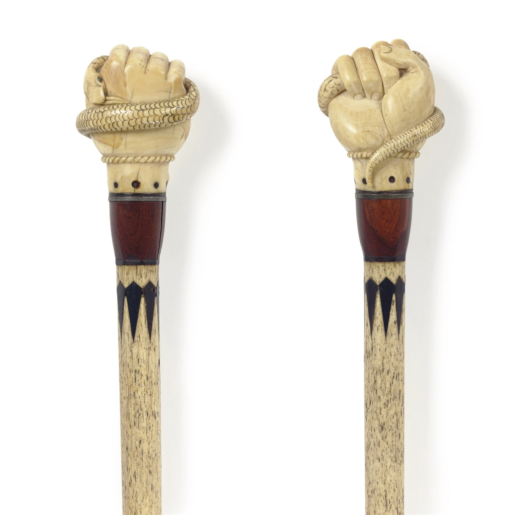 AN IVORY AND WHALE BONE 'FIST
